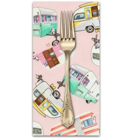 PD's Timeless Treasures Collection Fun Vintage Campers in Pink, Dinner Napkin