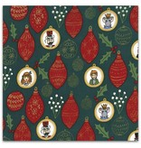 Michael Miller Nutcracker Act I, Ornaments in Hunter with Metallic, Fabric Half-Yards