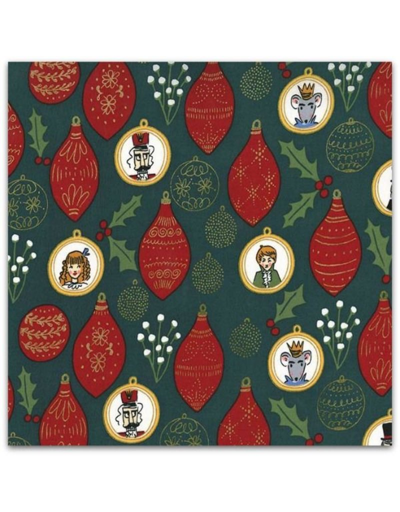 Michael Miller Nutcracker Act I, Christmas Ornaments in Hunter with Metallic, Fabric Half-Yards