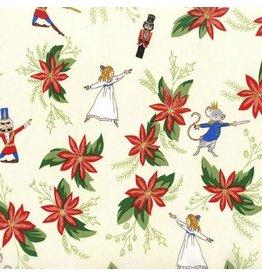 Michael Miller Nutcracker Act I, Nutcracker Christmas Floral in Cream with Metallic, Fabric Half-Yards