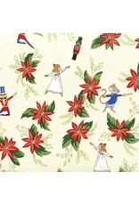 PD's Michael Miller Collection Nutcracker Act I, Nutcracker Floral in Cream, Dinner Napkin