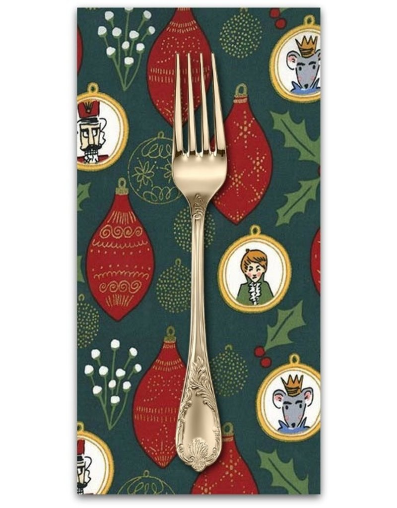 PD's Michael Miller Collection Nutcracker Act I, Christmas Ornaments in Hunter, Dinner Napkin