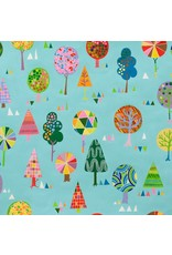 Alexander Henry Fabrics Monkey's Bizness, Magic Trees in Turquoise, Fabric Half-Yards