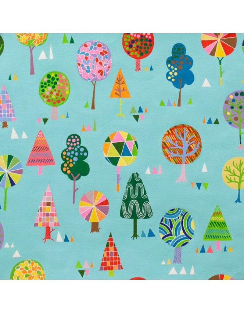 Alexander Henry Fabrics Monkey's Bizness, Magic Trees in Turquoise, Fabric Half-Yards