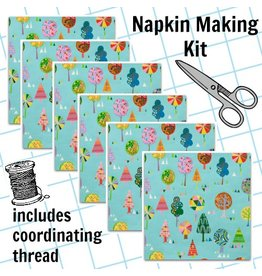 Picking Daisies Dinner Napkin Kit: Monkey's Bizness, Magic Trees in Turquoise