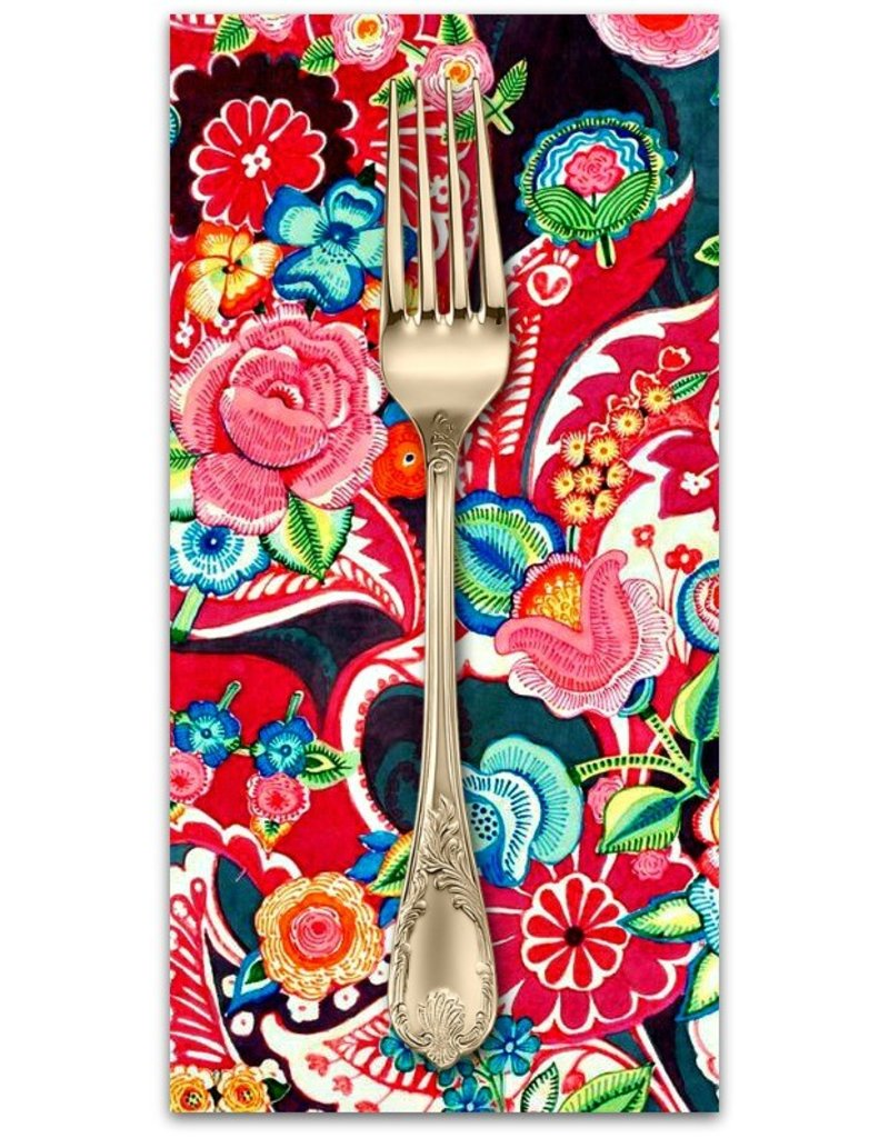 PD's Alexander Henry Collection Christmas Time, Clara Floral  in Red with Metallic, Dinner Napkin