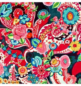 Alexander Henry Fabrics Christmas Time, Clara Floral  in Red with Metallic, Fabric Half-Yards