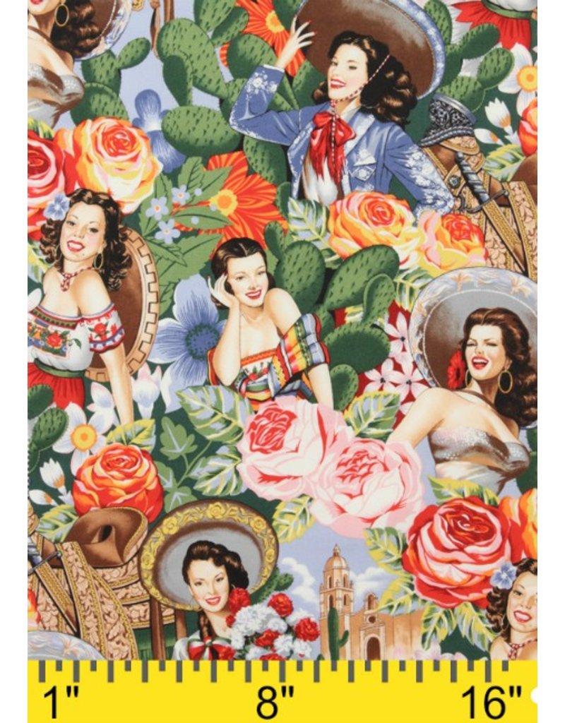 Picking Daisies Dinner Napkin Kit: Folklorico, Las Senoritas in Bright