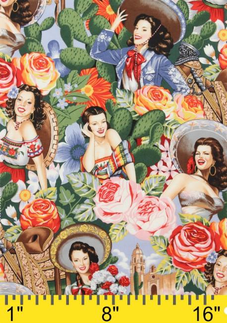 Alexander Henry Fabrics Folklorico, Las Senoritas in Bright, Fabric Half-Yards