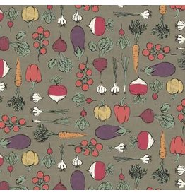 Andover Fabrics Home Grown, Vegetables in Grey, Fabric Half-Yards