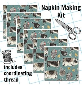 Picking Daisies Dinner Napkin Kit: Home Grown Animals in Blue