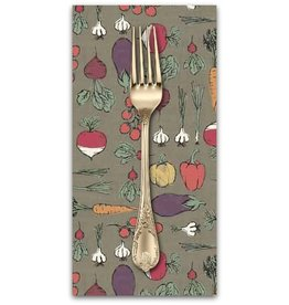 PD's Andover Collection Home Grown, Vegetables in Grey, Dinner Napkin