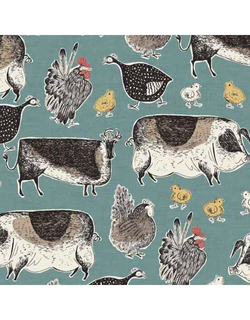Andover Fabrics Home Grown, Animals in Blue, Fabric Half-Yards