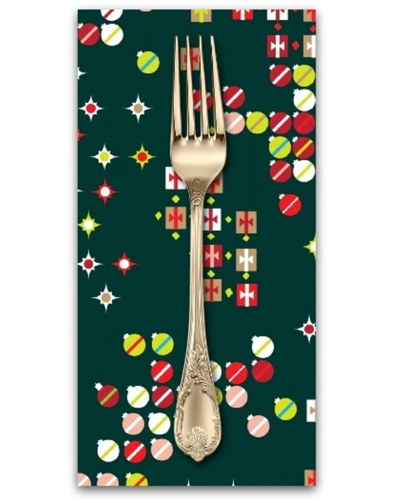 PD's Marcus Fabrics Collection Green and Red, Christmas Ornaments in Hunter, Dinner Napkin