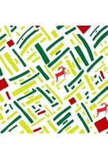 PD's Marcus Fabrics Collection Green and Red, Christmas Reindeer in Green, Dinner Napkin