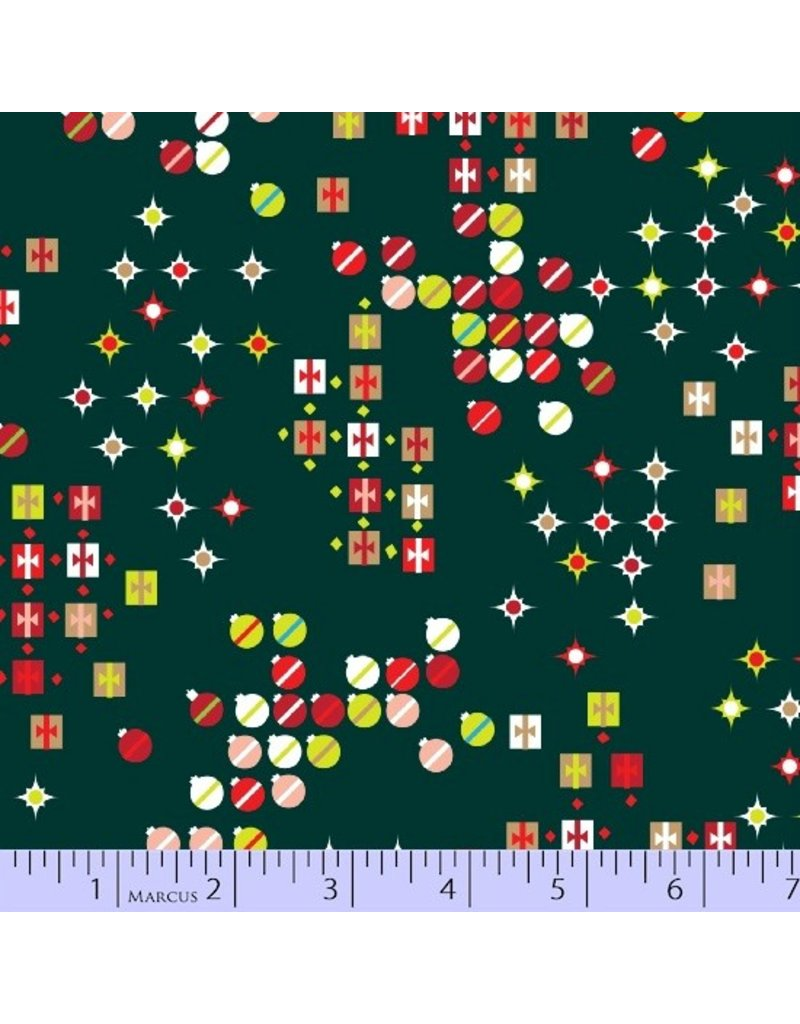 Victoria Findlay Wolfe Green and Red, Christmas Ornaments in Hunter, Fabric Half-Yards