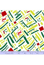 Victoria Findlay Wolfe Green and Red, Christmas Reindeer in Green, Fabric Half-Yards