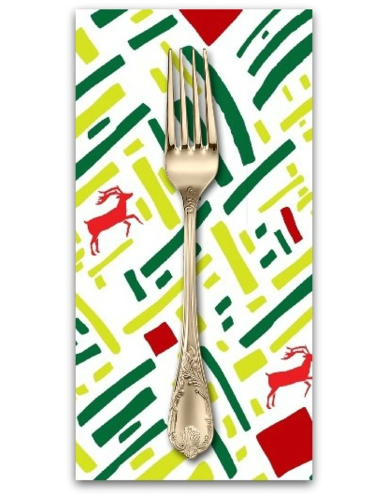Picking Daisies Dinner Napkin Kit: Green and Red Christmas Reindeer