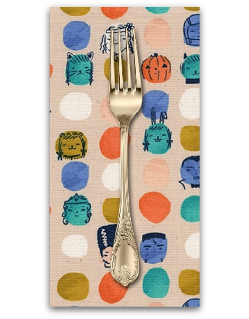 PD's Cotton + Steel Collection Lil' Monsters, Dress Up in Peach, Dinner Napkin