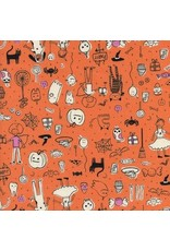 Cotton + Steel Lil' Monsters, Party in Orange, Fabric Half-Yards