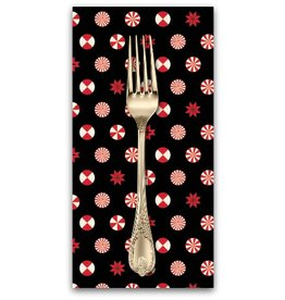 PD's Tula Pink Collection Holiday Homies, Peppermint Christmas Stars in Ink, Dinner Napkin