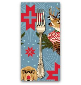 PD's Tula Pink Collection Holiday Homies, Buck, Buck, Goose in Blue Spruce, Dinner Napkin