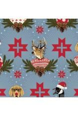 Tula Pink Holiday Homies, Buck, Buck, Goose in Blue Spruce, Fabric Half-Yards