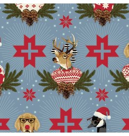 Tula Pink Holiday Homies, Buck, Buck, Goose in Blue Spruce, Fabric Half-Yards