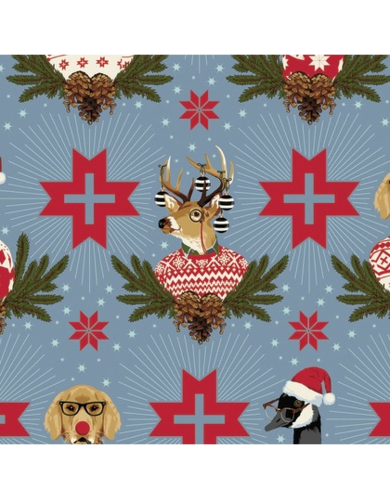 Picking Daisies Dinner Napkin Kit: Holiday Homies, Buck, Buck, Goose in Blue Spruce