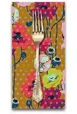 Picking Daisies Dinner Napkin Kit: Floral Retrospective, Raindrop Poppies in Amber