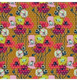 Anna Maria Horner Floral Retrospective, Raindrop Poppies in Amber, Fabric Half-Yards