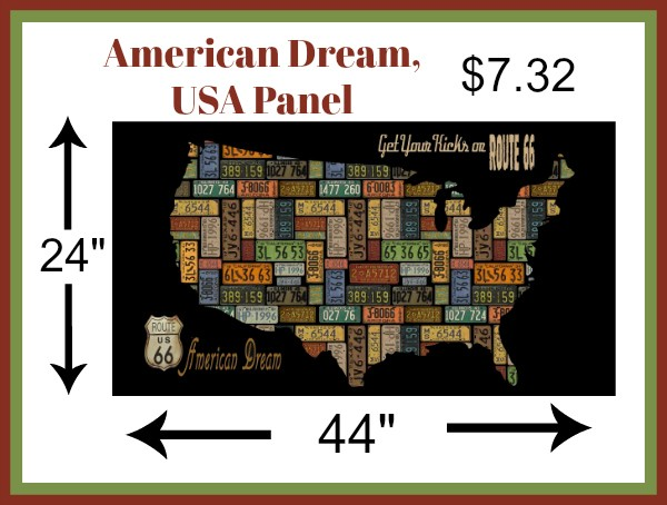 """Blank Quilting American Dream, USA Panel in Black, 24"""" Fabric Panel"""