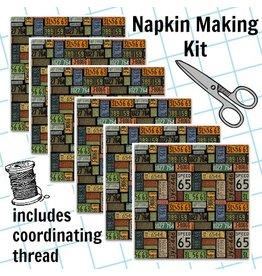 Picking Daisies Dinner Napkin Kit: American Dream, License Plates in Black
