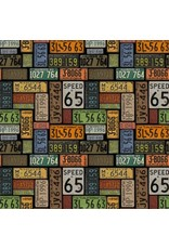 Blank Quilting American Dream, License Plates in Black, Fabric Half-Yards