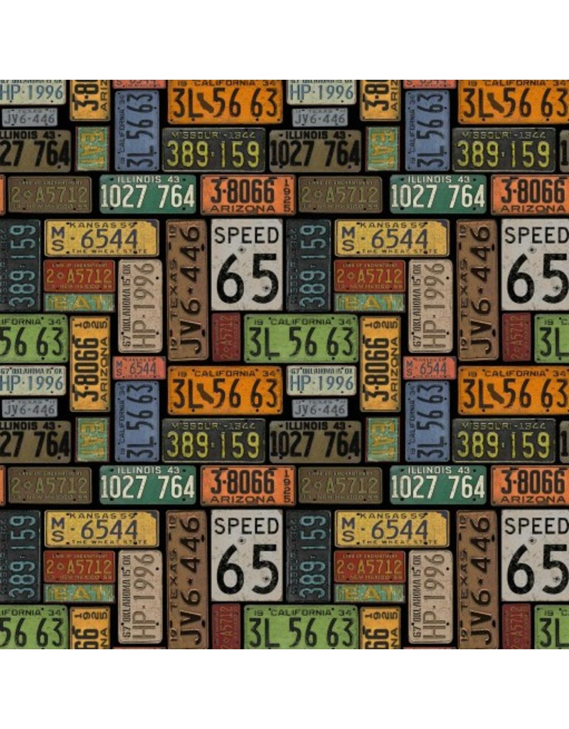 PD's Blank Collection American Dream, License Plates in Black, Dinner Napkin
