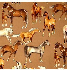 Alexander Henry Fabrics Santa Fe, Love of Horses in Taupe, Fabric Half-Yards