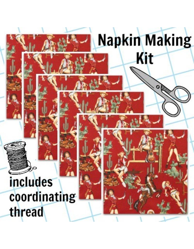 Picking Daisies Dinner Napkin Kit: Santa Fe, From the Hip in Red