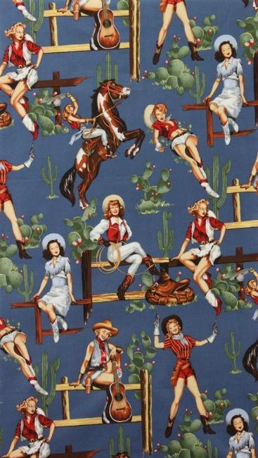 Alexander Henry Fabrics Santa Fe, From the Hip in Chambray, Fabric Half-Yards
