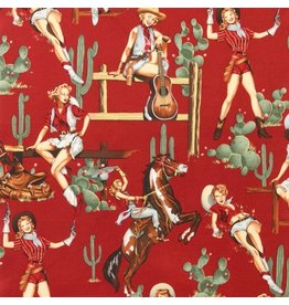 Alexander Henry Fabrics Santa Fe, From the Hip in Red, Fabric Half-Yards
