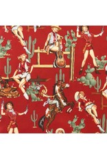 PD's Alexander Henry Collection Santa Fe, From the Hip in Red, Dinner Napkin