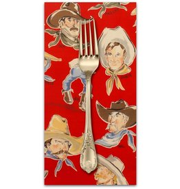 PD's Alexander Henry Collection Santa Fe, Buckaroos in Red, Dinner Napkin