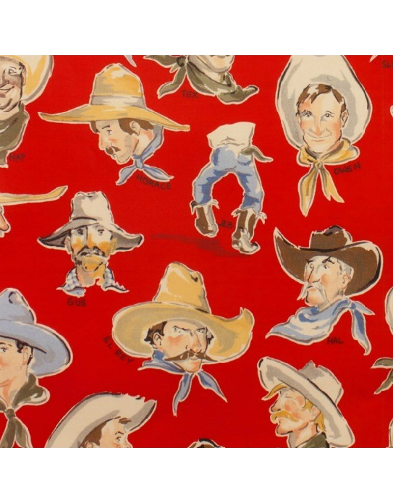 PD's Alexander Henry Collection Santa Fe, Buckaroos in Red, Dinner Napkin