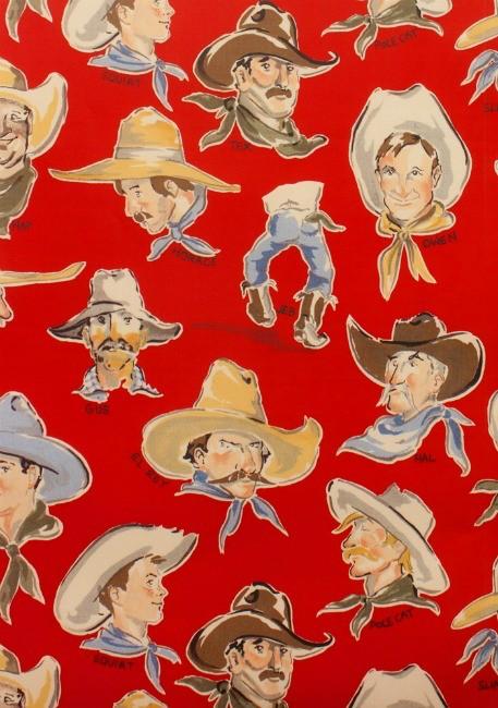 Alexander Henry Fabrics Santa Fe, Buckaroos in Red, Fabric Half-Yards