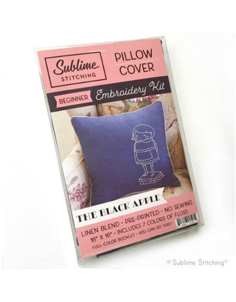 Sublime Stitching Embroidery Kit, Pillow Cover: The Black Apple for Sublime Stitching