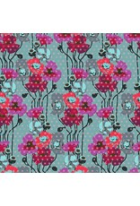 PD's Anna Maria Horner Collection Floral Retrospective, Raindrop Poppies in Plum, Dinner Napkin