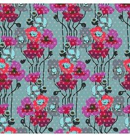 Anna Maria Horner Floral Retrospective, Raindrop Poppies in Plum, Fabric Half-Yards