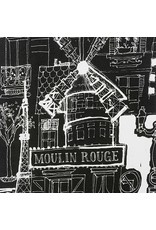 Alexander Henry Fabrics Black and White, Moulin Rouge in Black, Fabric Half-Yards