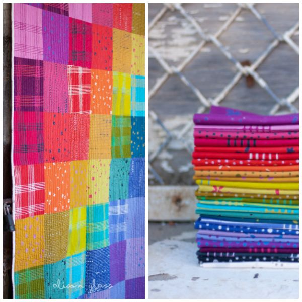 Alison Glass Chroma - A Handcrafted Collection, Scatter in Carrot, Fabric Half-Yards