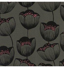 Sarah Watts Rayon, Magic Forest, Magic Tulips in Grey, Fabric Half-Yards
