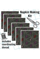 Picking Daisies Dinner Napkin Kit: Magic Forest, Bees in Charcoal